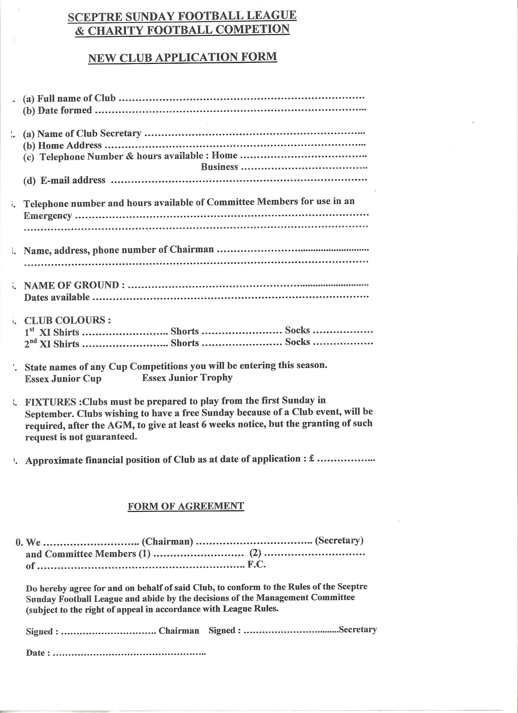 Club Application Forms amp Guidelines
